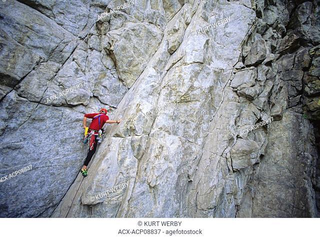 Man climbing Double Exposure at Skaha Bluffs Penticton, British Columbia, Canada