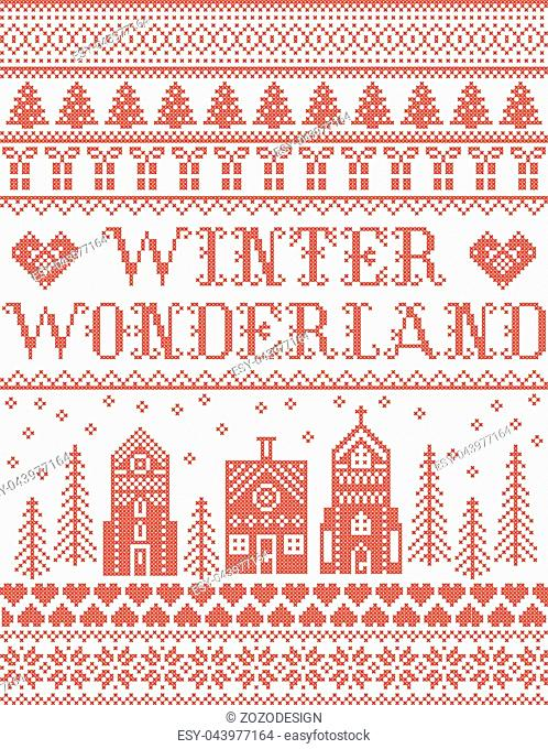 Christmas pattern with Winter Wonderland village vector seamless pattern inspired by Nordic culture festive winter in cross stitch with heart, snowflake, snow