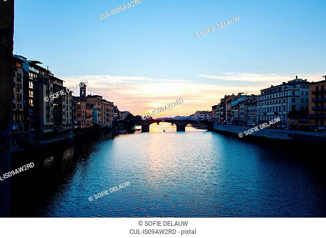 View of Ponte Santa Trinita from Ponte Vecchio at sunset, Florence, Italy