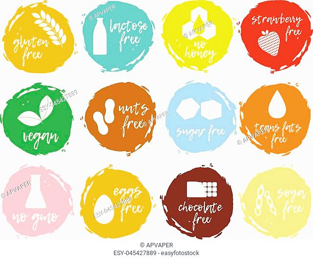 Set of food labels - allergens, GMO free products. Food intolerance symbols collection. Vector illustration