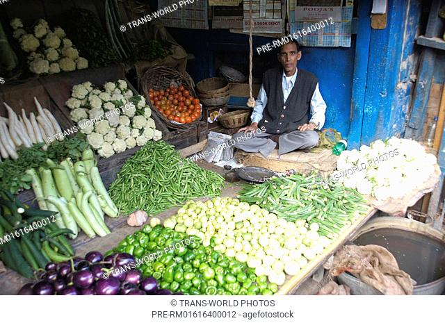 Vegetable merchant at the Mall Mall Road, Shimla, Himachal Pradesh, India / Gemüsehändler, Shimla, Himachal Pradesh, Indien