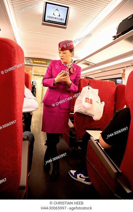 Asia, China, Chinese, Peoples Republic, Sichuan Province, Chongqing, bullet train, conductor