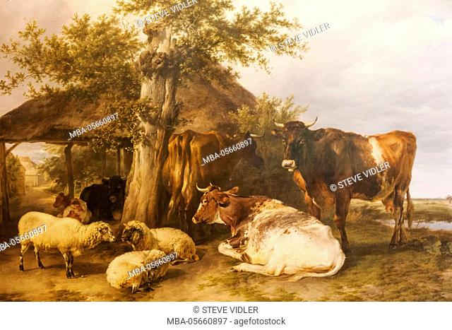 England, Kent, Cantebury, The Beaney Institute Public Library and Museum, The Garden Room Art Gallery, Painting titled The Home Farm by Thomas Sidney Cooper...