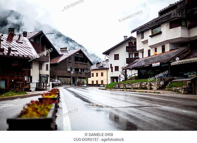 Street of San Vito di Cadore, Cortina D'Ampezzo, Italy, Dolomites
