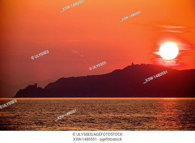sunset, castiglione della pescaia, province of grosseto, tuscany, italy, europe