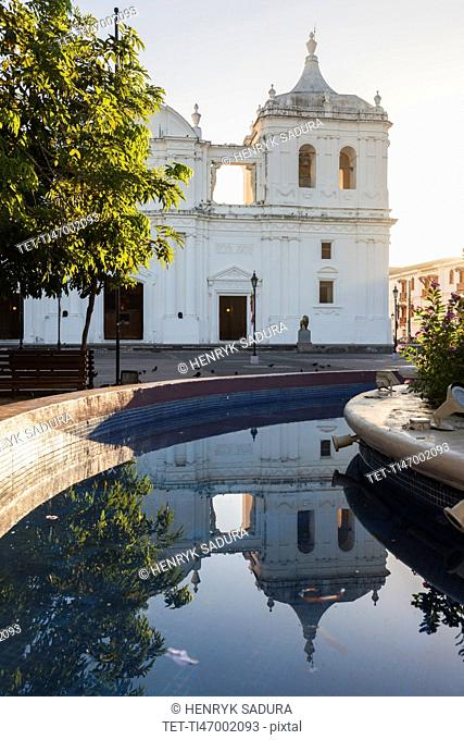 Nicaragua, Leon, Our Lady of Grace Cathedral and canal