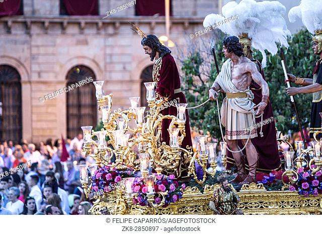 Brotherhood of Jesus corsage making station of penitence in front at the town hall, Linares, Jaen province, Andalusia, Spain