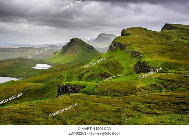 Scenic view of Quiraing mountains with dramatic sky, Scottish highlands