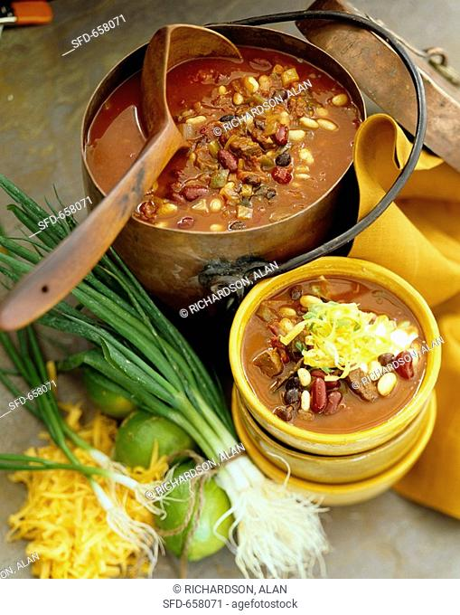 Beef Chili in a Large Copper Pot and Serving Bowl, Large Wooden Scoop
