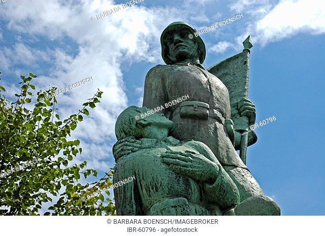 Detail from a monument, for our brave heroes 1914 - 1918, war heroes warrior, St Urbanus Kirche Huckarde, Huckarde, Dortmund, NRW, Nordrhein Westphalia