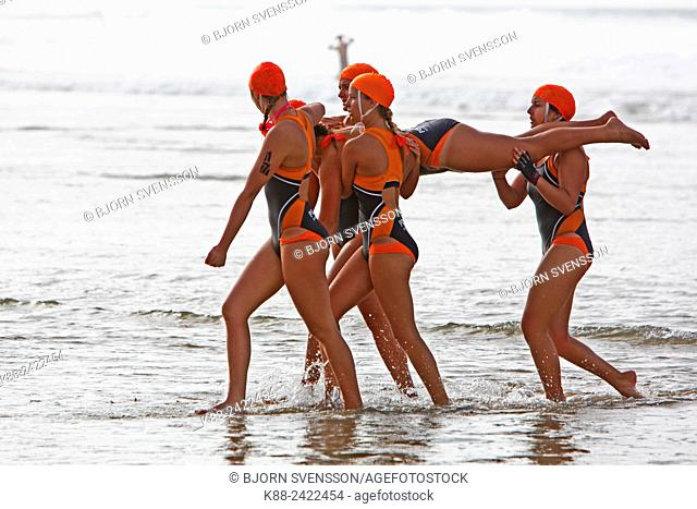 Teams competing in rescue and resuscitation (R&R) during a surf lifesaver carnival. Jan Juc, Victoria, Australia