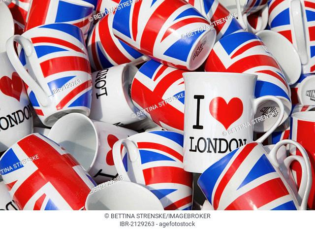 Mugs with lettering I love London and the Union Jack flag, London, England, United Kingdom, Europe