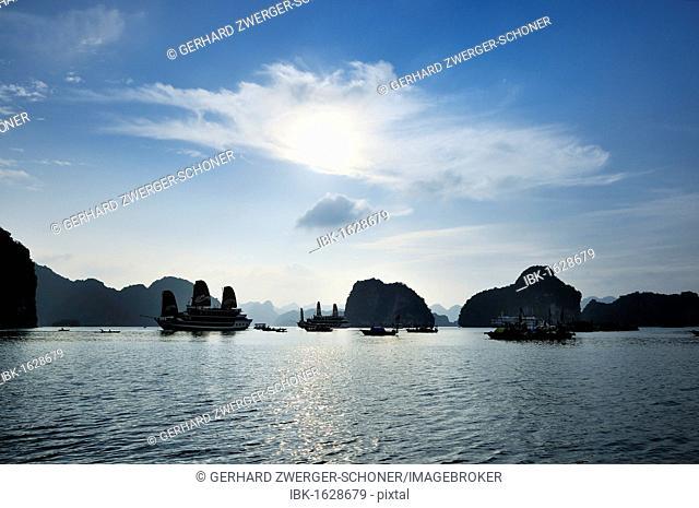 Junks in Halong Bay, Vietnam, Southeast Asia