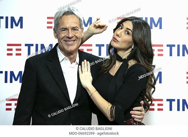 Italian singer and presenter Claudio Baglioni, Italian comedian and presenter Virginia Raffaele in the Press Room of the 69th Sanremo Music Festival