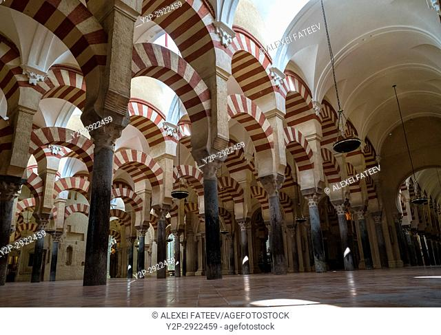 Arches of the Prayer hall in Great Mosque of Córdoba, Spain