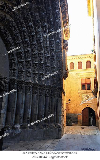 Romanesque Cathedral of Saint Mary, Gate of Last Judgement, XIIth century. Tudela, Navarra, Spain