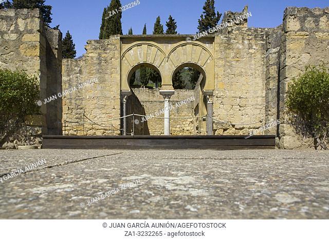 Cordoba, Spain - March 23, 2013: Medina Azahara Archaeological Site. Upper Basilica Building, Cordoba, Spain