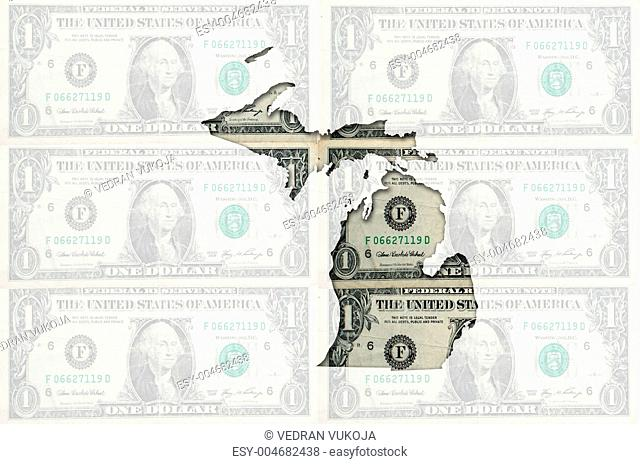 Outline map of michigan with transparent american dollar banknot