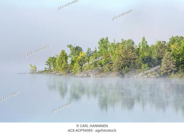 Foggy morning on Vermilion River, Whitefish, City of Greater Sudbury, Ontario, Canada