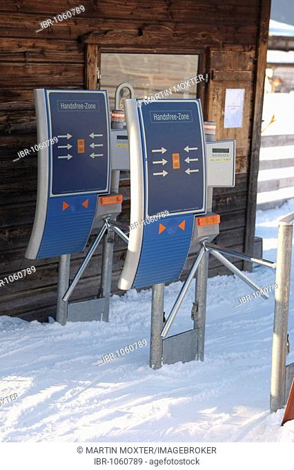 Non-contact gate to a skiing lift, Ehrwald, Tyrol, Austria, Europe