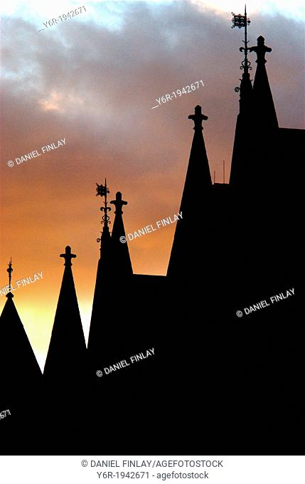Silhouette of the facade of the Royal Courts of Justice in The Strand, in London, England, at sunset