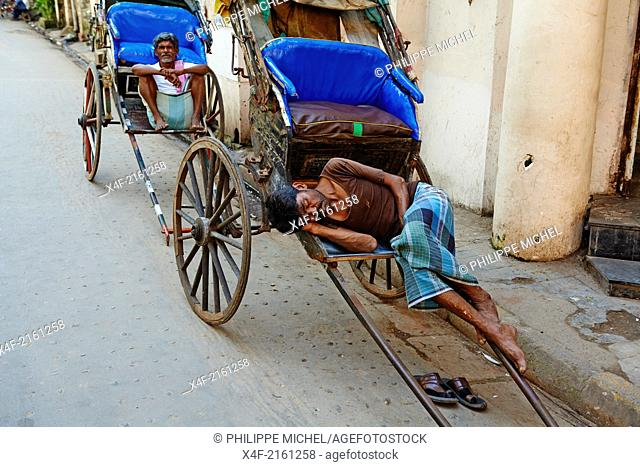 India, West Bengal, Kolkata, Calcutta, the last day of rikshaw of Kolkata, rickshaw on the street