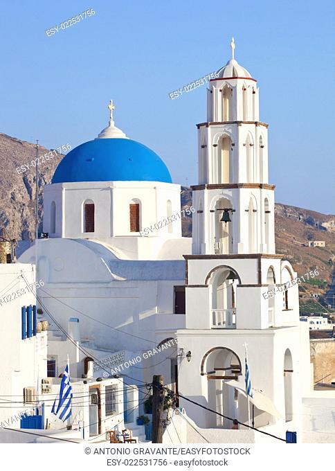 Santorini, Pyrgos, Theotokaki Church with blue cupola