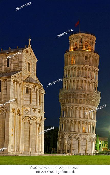 The flood-lit Leaning Tower of Pisa at the blue hour, Tuscany, Italy, Europe