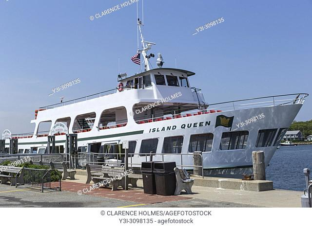 The Island Queen ferry from Martha's Vineyard to Falmouth docked in Oak Bluffs Harbor waiting for its next run