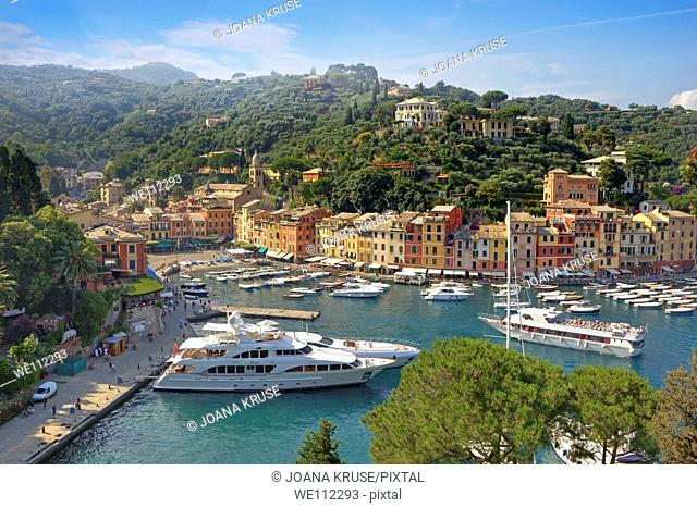 Portofino - a port city in Liguria on the Mediterranean Sea with many yachts  A meeting place for the rich