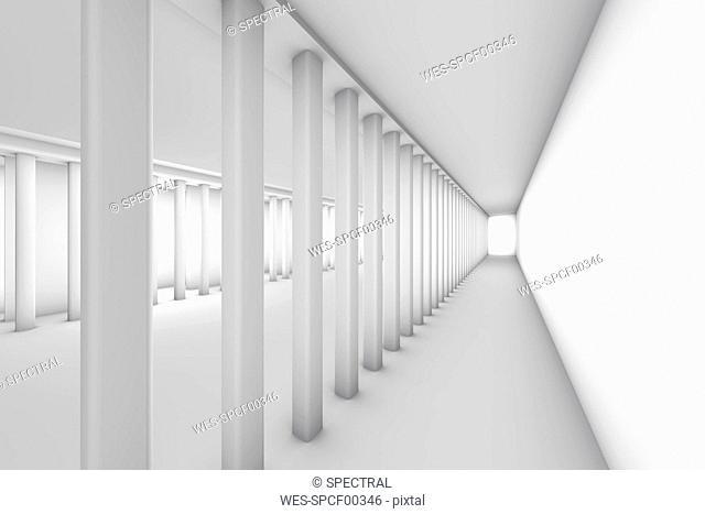 Empty hallway, 3D Rendering