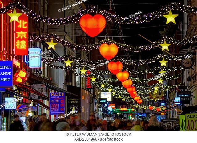 Strøget, pedestrian zone, at Christmas time, shops in the town centre, Copenhagen, Capital Region of Denmark, Denmark, Europe