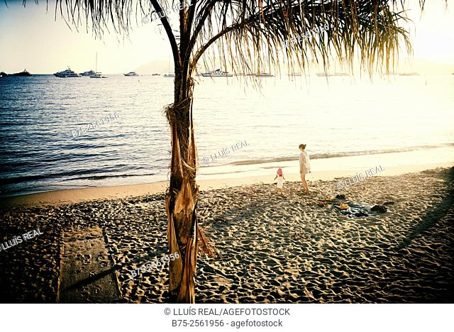 Mother and child on the beach of Cannes and a palm in the foreground. French Riviera, Provence, France