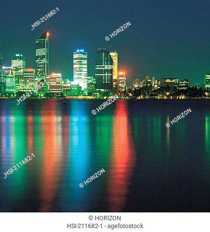 Skyscrapers in night at Perth in Western Australia