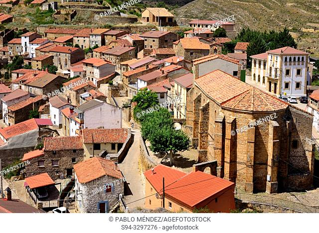 View of the church of San Martin and village of Magaña, Soria, Spain
