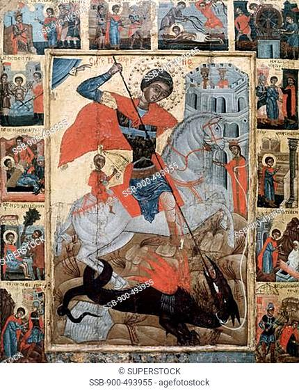 Saint George And Scenes From His Life 16TH C. Icons-  Wood Boyana Church National Museum, Sofia, Bulgaria