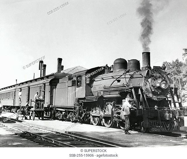Passenger train on railroad track, Boston and Maine Railroad, Worcester, Massachusetts, USA