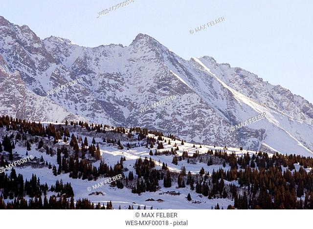 Switzerland, Grisons, Falera, Snow covered landscape