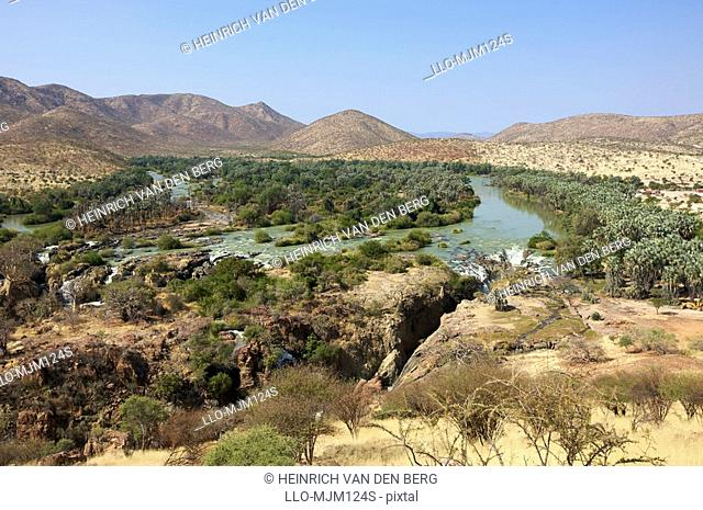 Distant view of Epupa Falls and surrounding area, Kunene River, Kaokoland, Namibia