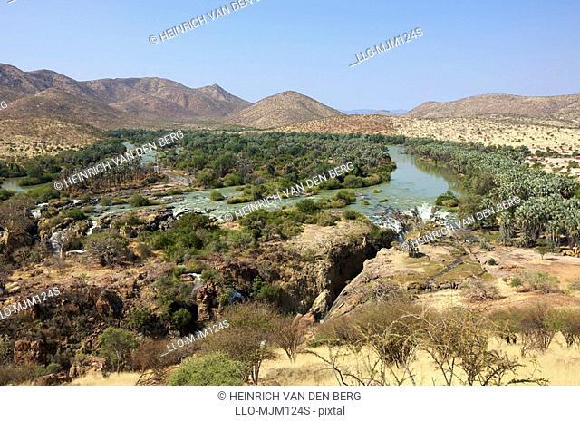 Distant view of Epupa Falls and surrounding area, Kunene River, Kaokoland, Namibia