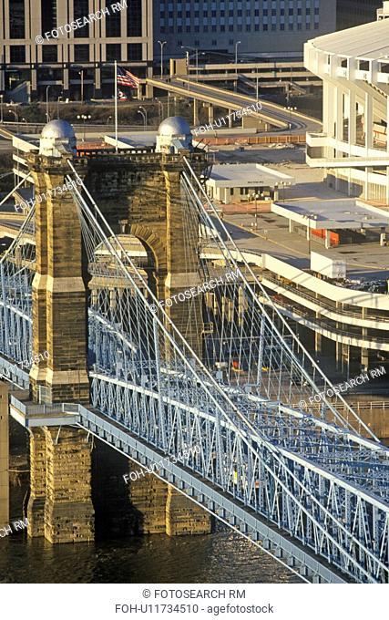Roebling Suspension Bridge over the Ohio River, Cincinnati, OH