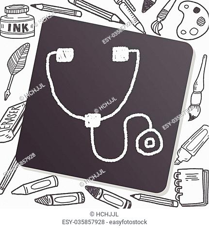 Stethoscope doodle drawing