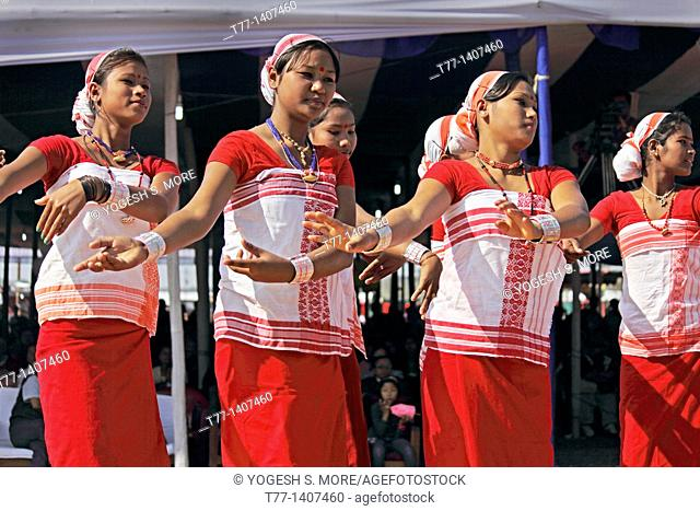 Deori Tribes, Women Performing Dance at Namdapha Eco Cultural Festival, Miao, Arunachal Pradesh, India