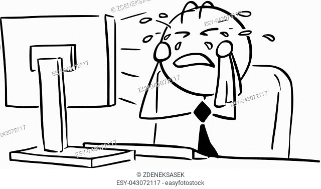 Cartoon vector illustration of stick man office worker, clerk, manager, businessman or programmer crying in front of the computer screen