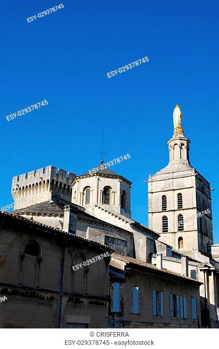 Old houses, church of Notre Dame and Popes Palace in Avignon, Provence, France