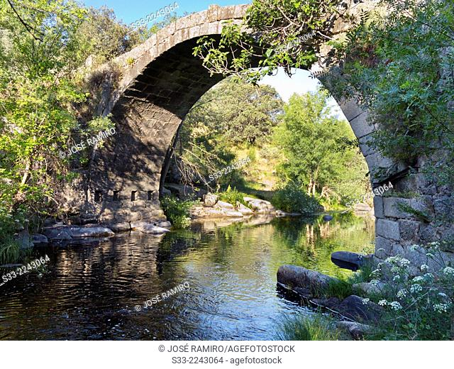 Bridge over Tietar river. La Iglesuela. Toledo. Castilla la Mancha. Spain