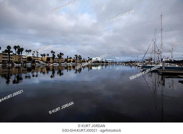 Docked Boats in Calm Harbor