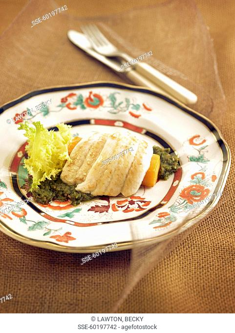 Rolled sole fillet with pumpkin