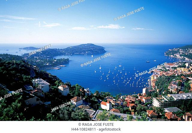 France, Europe, South of France, Cote d'Azur, Cap Ferrat, bay, peninsula, Villefranche-sur-mer, coast, sea