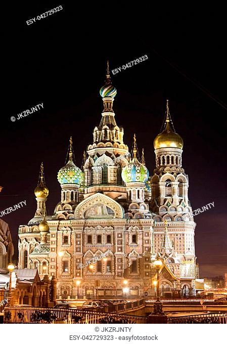 The church by the canal. White nights, Saint-Petersburg, Russia.Night view of Griboyedov Canal and Church of the Savior on Blood